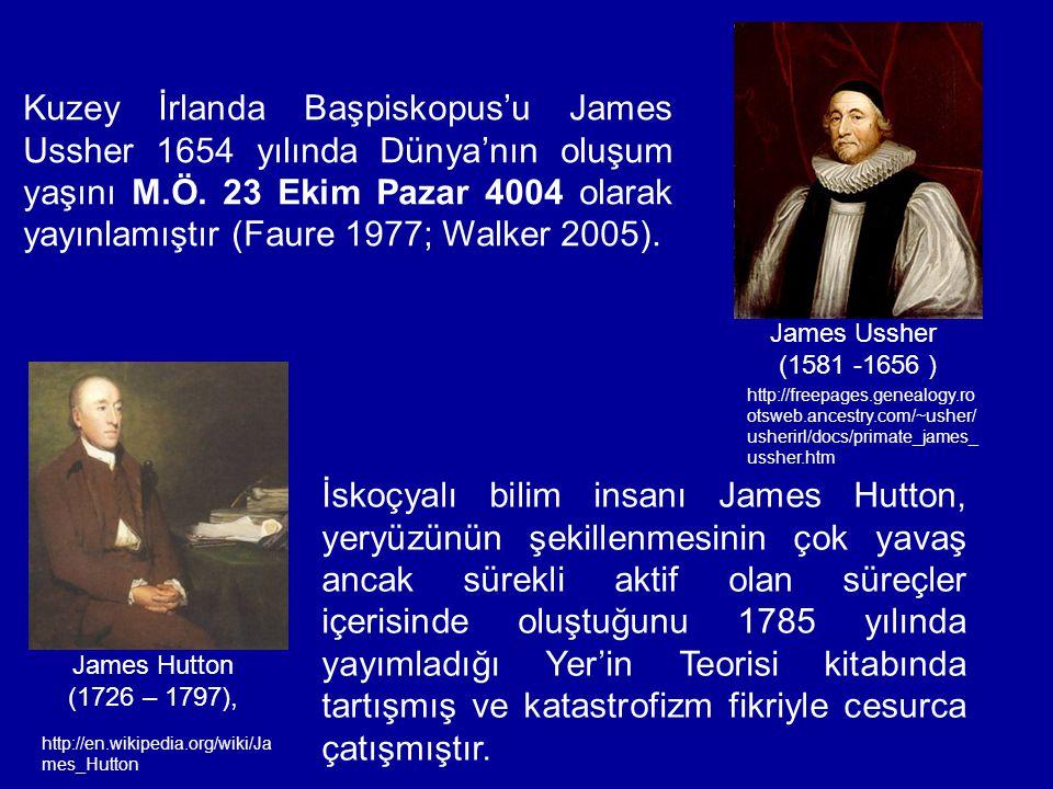 James Ussher (1581 -1656 ) Kuzey İrlanda Başpiskopus'u James Ussher 1654 yılında Dünya'nın oluşum yaşını M.Ö. 23 Ekim Pazar 4004 olarak yayınlamıştır