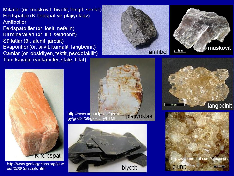 Mikalar (ör. muskovit, biyotit, fengit, serisit) Feldspatlar (K-feldspat ve plajiyoklaz) Amfiboller Feldspatoitler (ör. lösit, nefelin) Kil mineraller