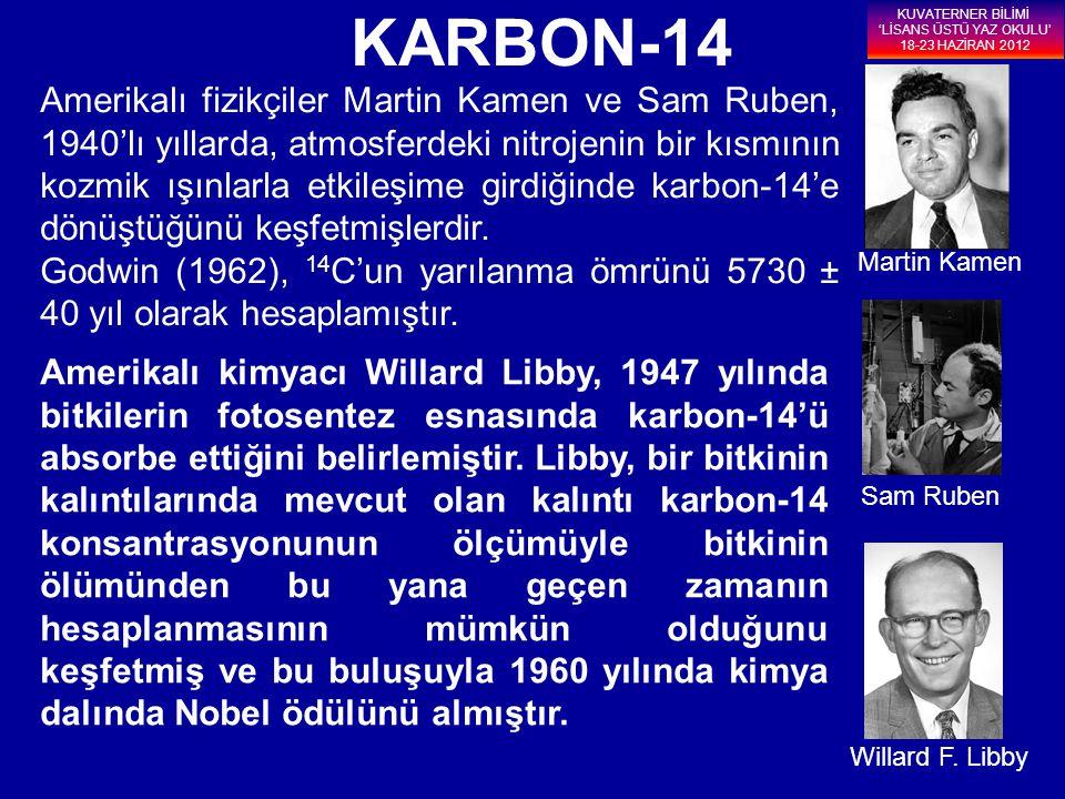 Willard F. Libby KARBON-14 Amerikalı fizikçiler Martin Kamen ve Sam Ruben, 1940'lı yıllarda, atmosferdeki nitrojenin bir kısmının kozmik ışınlarla etk