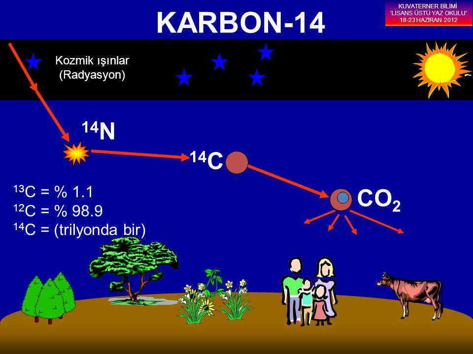 KARBON-14 Kozmik ışınlar (Radyasyon) 14 N 14 C CO 2 13 C = % 1.1 12 C = % 98.9 14 C = (trilyonda bir) KUVATERNER BİLİMİ 'LİSANS ÜSTÜ YAZ OKULU' 18-23