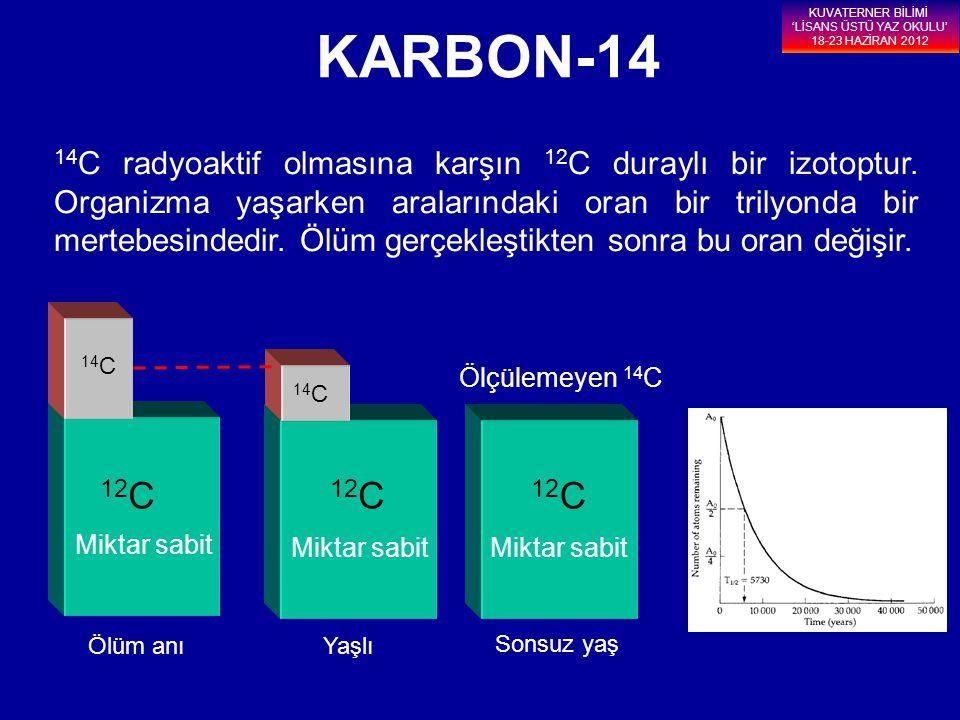 14 C radyoaktif olmasına karşın 12 C duraylı bir izotoptur. Organizma yaşarken aralarındaki oran bir trilyonda bir mertebesindedir. Ölüm gerçekleştikt