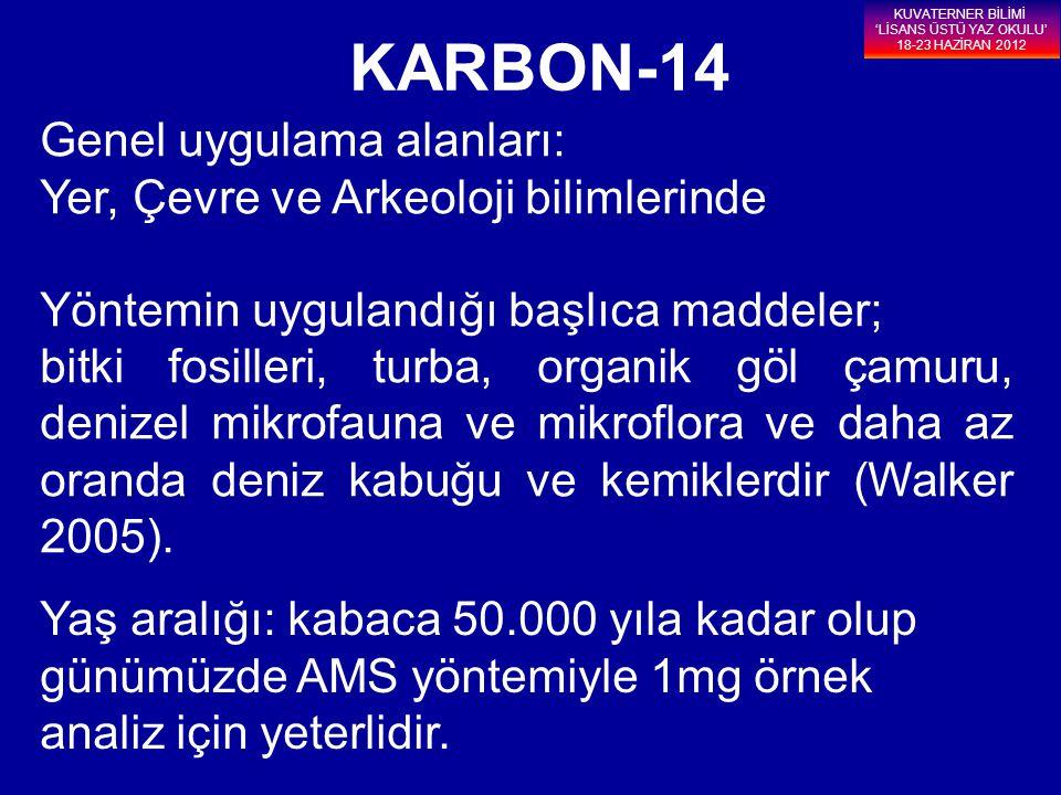 KARBON-14 Genel uygulama alanları: Yer, Çevre ve Arkeoloji bilimlerinde Yöntemin uygulandığı başlıca maddeler; bitki fosilleri, turba, organik göl çam