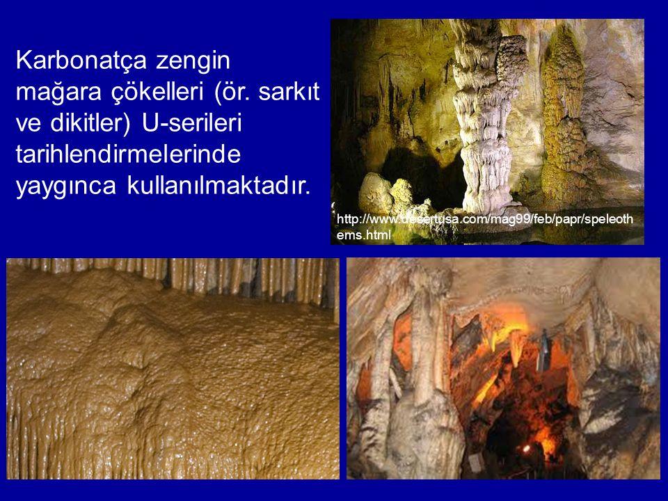 Karbonatça zengin mağara çökelleri (ör. sarkıt ve dikitler) U-serileri tarihlendirmelerinde yaygınca kullanılmaktadır. http://www.desertusa.com/mag99/
