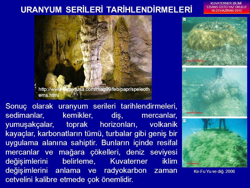 KUVATERNER BİLİMİ 'LİSANS ÜSTÜ YAZ OKULU' 18-23 HAZİRAN 2012 Sonuç olarak uranyum serileri tarihlendirmeleri, sedimanlar, kemikler, diş, mercanlar, yu