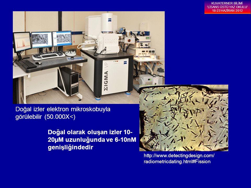 Doğal izler elektron mikroskobuyla görülebilir (50.000X<) Doğal olarak oluşan izler 10- 20µM uzunluğunda ve 6-10nM genişliğindedir http://www.detectin