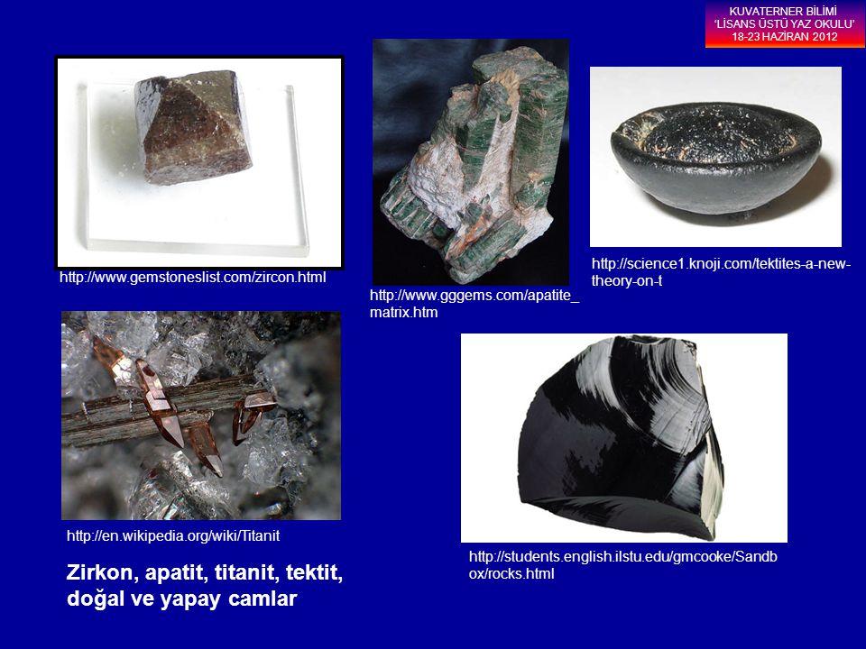 Zirkon, apatit, titanit, tektit, doğal ve yapay camlar http://science1.knoji.com/tektites-a-new- theory-on-t http://www.gggems.com/apatite_ matrix.htm