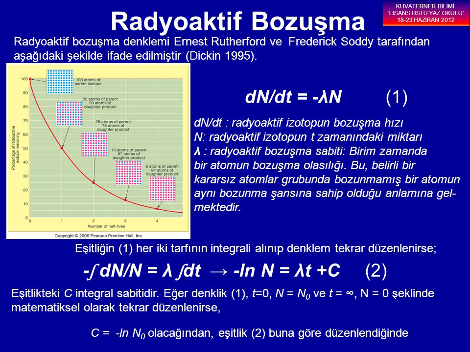 Radyoaktif bozuşma denklemi Ernest Rutherford ve Frederick Soddy tarafından aşağıdaki şekilde ifade edilmiştir (Dickin 1995). dN/dt = -λN (1) Eşitliği