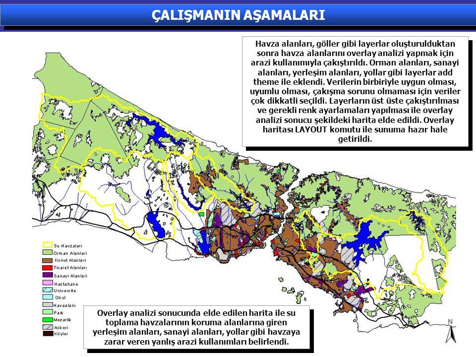 Havza alanları, göller gibi layerlar oluşturulduktan sonra havza alanlarını overlay analizi yapmak için arazi kullanımıyla çakıştırıldı. Orman alanlar