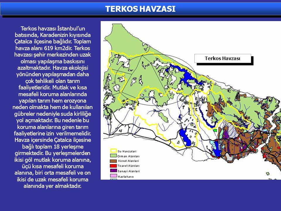 Terkos havzası İstanbul'un batısında, Karadenizin kıyısında Çatalca ilçesine bağlıdır. Toplam havza alanı 619 km2dir. Terkos havzası şehir merkezinden
