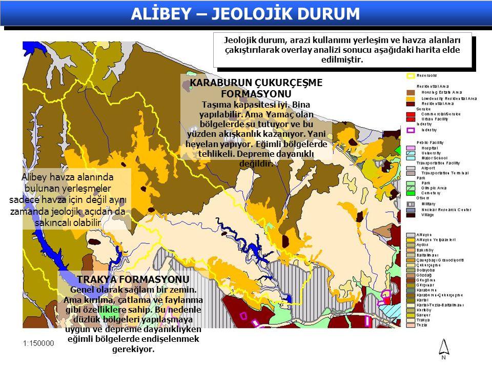 Jeolojik durum, arazi kullanımı yerleşim ve havza alanları çakıştırılarak overlay analizi sonucu aşağıdaki harita elde edilmiştir. ALİBEY – JEOLOJİK D