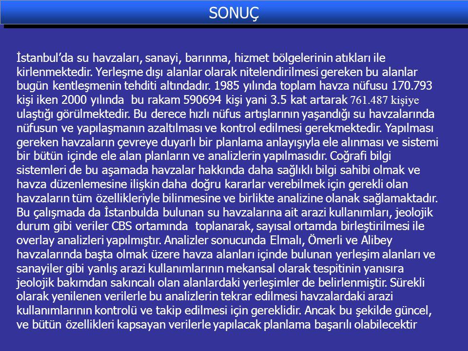 SONUÇ İstanbul'da su havzaları, sanayi, barınma, hizmet bölgelerinin atıkları ile kirlenmektedir. Yerleşme dışı alanlar olarak nitelendirilmesi gereke