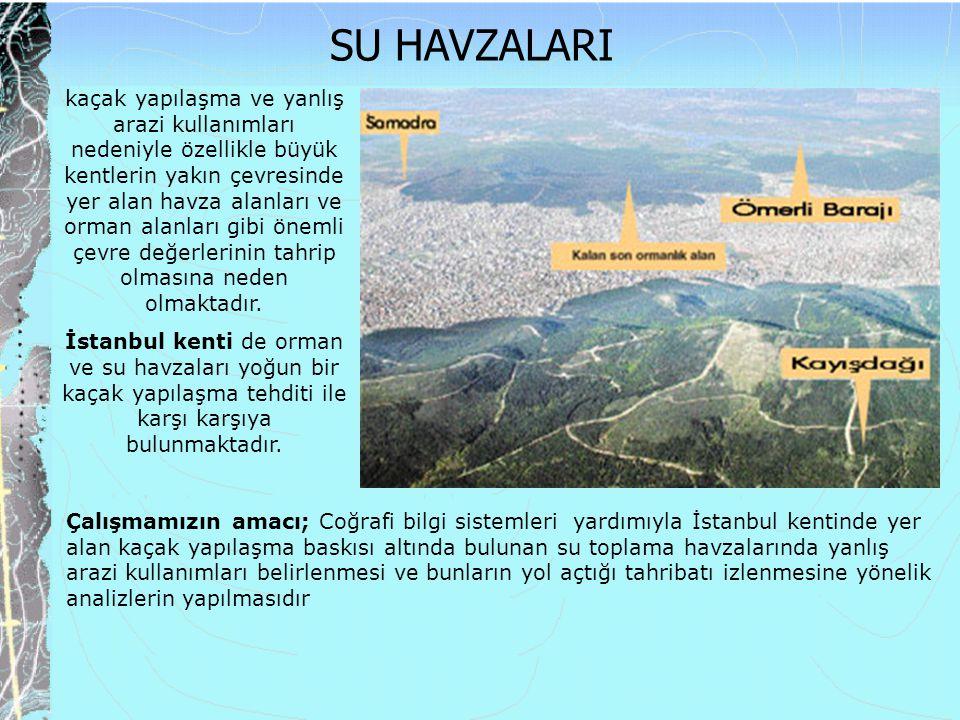 kaçak yapılaşma ve yanlış arazi kullanımları nedeniyle özellikle büyük kentlerin yakın çevresinde yer alan havza alanları ve orman alanları gibi öneml
