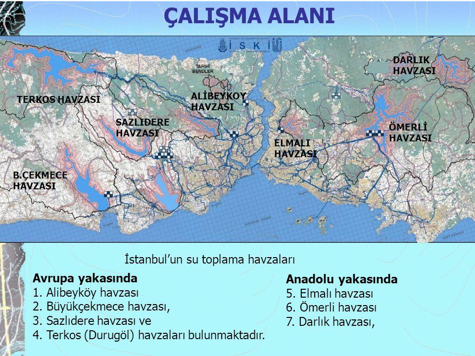 Avrupa yakasında 1. Alibeyköy havzası 2. Büyükçekmece havzası, 3. Sazlıdere havzası ve 4. Terkos (Durugöl) havzaları bulunmaktadır. ÇALIŞMA ALANI TERK