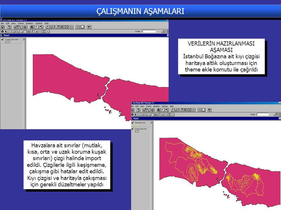 ÇALIŞMANIN AŞAMALARI VERİLERİN HAZIRLANMASI AŞAMASI İstanbul Boğazına ait kıyı çizgisi haritaya altlık oluşturması için theme ekle komutu ile çağrıldı VERİLERİN HAZIRLANMASI AŞAMASI İstanbul Boğazına ait kıyı çizgisi haritaya altlık oluşturması için theme ekle komutu ile çağrıldı Havzalara ait sınırlar (mutlak, kısa, orta ve uzak koruma kuşak sınırları) çizgi halinde import edildi.