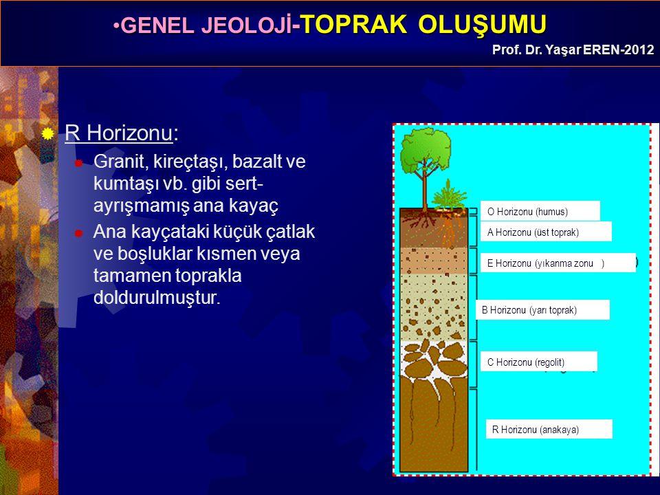 GENEL JEOLOJİ -TOPRAK OLUŞUMUGENEL JEOLOJİ -TOPRAK OLUŞUMU Prof. Dr. Yaşar EREN-2012  R Horizonu:  Granit, kireçtaşı, bazalt ve kumtaşı vb. gibi ser