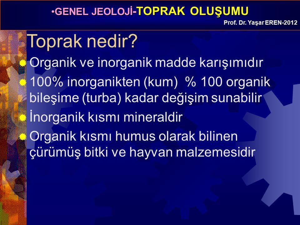 GENEL JEOLOJİ -TOPRAK OLUŞUMUGENEL JEOLOJİ -TOPRAK OLUŞUMU Prof. Dr. Yaşar EREN-2012 Toprak nedir?  Organik ve inorganik madde karışımıdır  100% ino