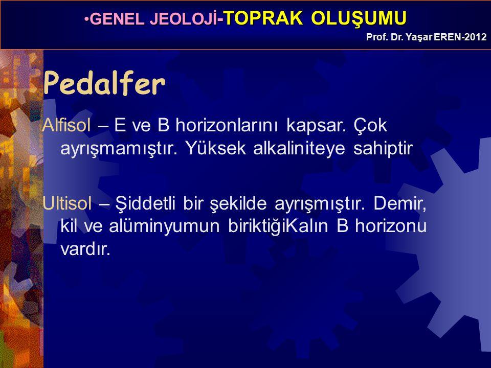 GENEL JEOLOJİ -TOPRAK OLUŞUMUGENEL JEOLOJİ -TOPRAK OLUŞUMU Prof. Dr. Yaşar EREN-2012 Pedalfer Alfisol – E ve B horizonlarını kapsar. Çok ayrışmamıştır