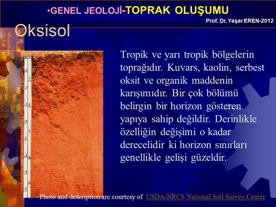 GENEL JEOLOJİ -TOPRAK OLUŞUMUGENEL JEOLOJİ -TOPRAK OLUŞUMU Prof. Dr. Yaşar EREN-2012 Oksisol Tropik ve yarı tropik bölgelerin toprağıdır. Kuvars, kaol