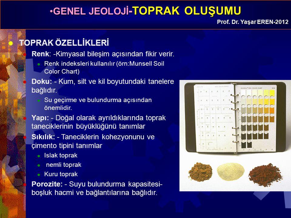 GENEL JEOLOJİ -TOPRAK OLUŞUMUGENEL JEOLOJİ -TOPRAK OLUŞUMU Prof. Dr. Yaşar EREN-2012  TOPRAK ÖZELLİKLERİ  Renk: -Kimyasal bileşim açısından fikir ve