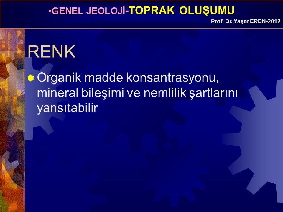 GENEL JEOLOJİ -TOPRAK OLUŞUMUGENEL JEOLOJİ -TOPRAK OLUŞUMU Prof. Dr. Yaşar EREN-2012 RENK  Organik madde konsantrasyonu, mineral bileşimi ve nemlilik