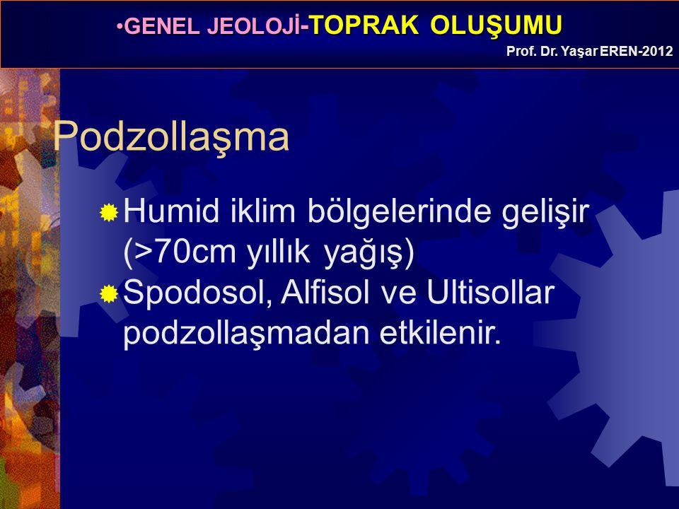 GENEL JEOLOJİ -TOPRAK OLUŞUMUGENEL JEOLOJİ -TOPRAK OLUŞUMU Prof. Dr. Yaşar EREN-2012 Podzollaşma  Humid iklim bölgelerinde gelişir (>70cm yıllık yağı