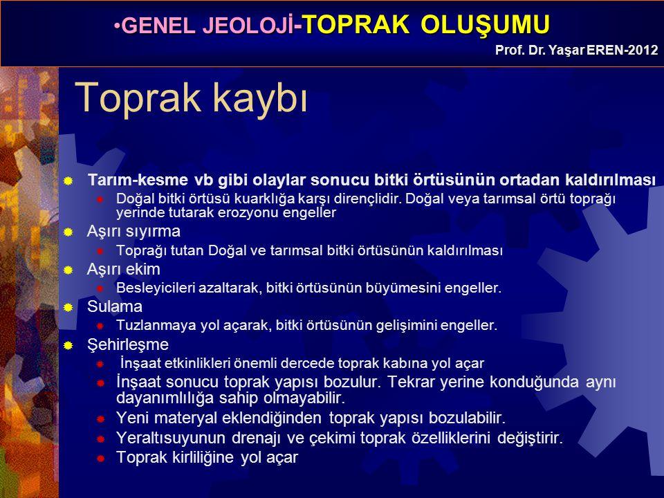 GENEL JEOLOJİ -TOPRAK OLUŞUMUGENEL JEOLOJİ -TOPRAK OLUŞUMU Prof. Dr. Yaşar EREN-2012 Toprak kaybı  Tarım-kesme vb gibi olaylar sonucu bitki örtüsünün