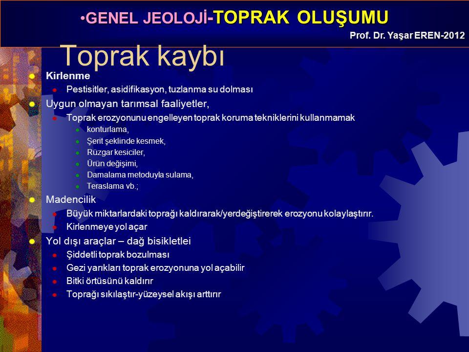GENEL JEOLOJİ -TOPRAK OLUŞUMUGENEL JEOLOJİ -TOPRAK OLUŞUMU Prof. Dr. Yaşar EREN-2012 Toprak kaybı  Kirlenme  Pestisitler, asidifikasyon, tuzlanma su