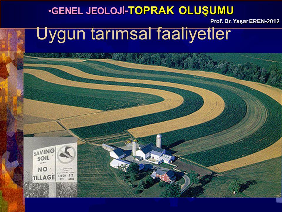GENEL JEOLOJİ -TOPRAK OLUŞUMUGENEL JEOLOJİ -TOPRAK OLUŞUMU Prof. Dr. Yaşar EREN-2012 Uygun tarımsal faaliyetler