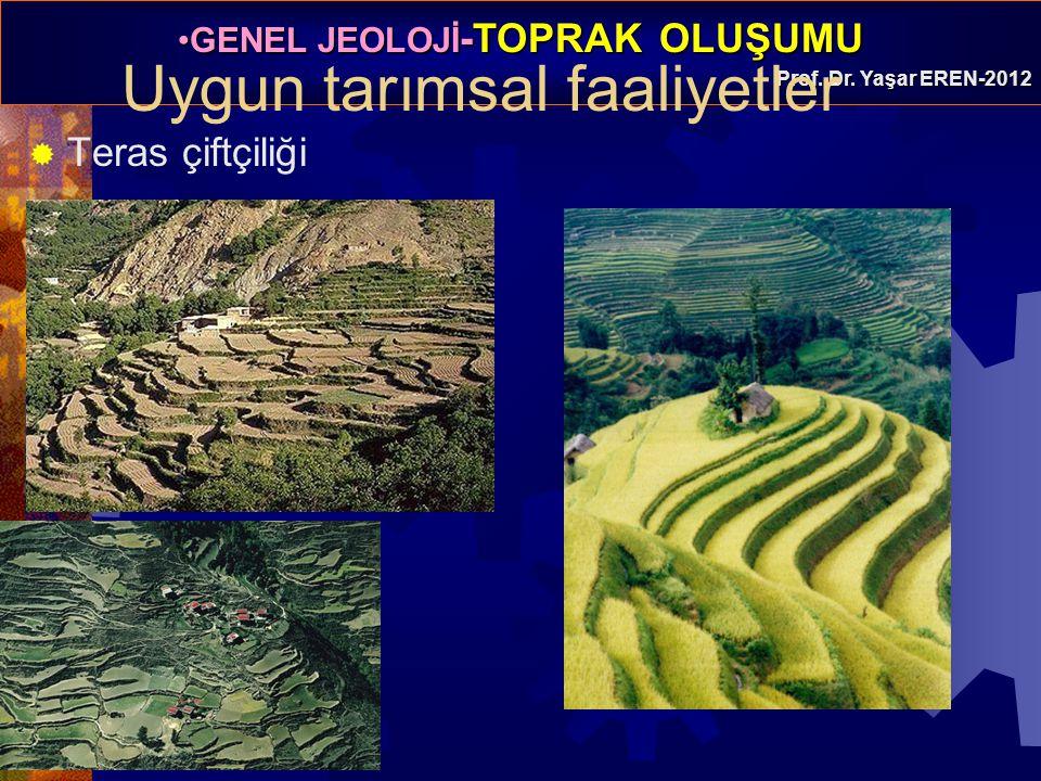 GENEL JEOLOJİ -TOPRAK OLUŞUMUGENEL JEOLOJİ -TOPRAK OLUŞUMU Prof. Dr. Yaşar EREN-2012  Teras çiftçiliği Uygun tarımsal faaliyetler