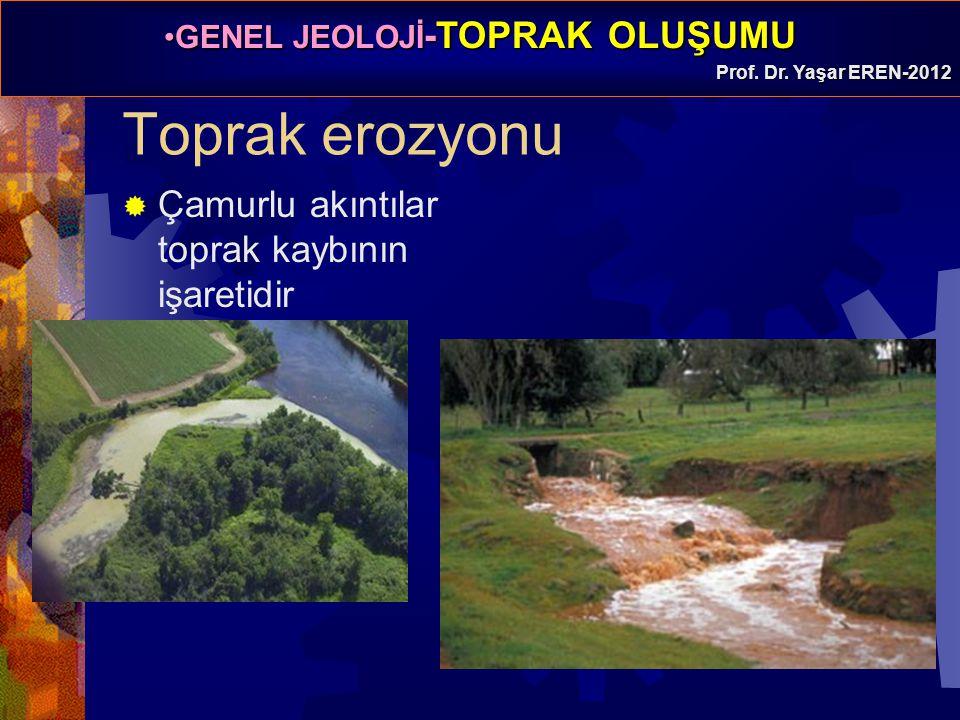 GENEL JEOLOJİ -TOPRAK OLUŞUMUGENEL JEOLOJİ -TOPRAK OLUŞUMU Prof. Dr. Yaşar EREN-2012 Toprak erozyonu  Çamurlu akıntılar toprak kaybının işaretidir