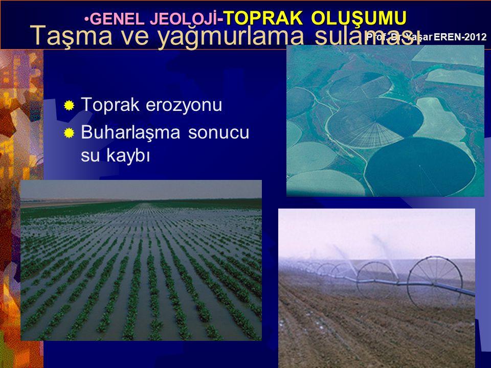 GENEL JEOLOJİ -TOPRAK OLUŞUMUGENEL JEOLOJİ -TOPRAK OLUŞUMU Prof. Dr. Yaşar EREN-2012 Taşma ve yağmurlama sulaması  Toprak erozyonu  Buharlaşma sonuc