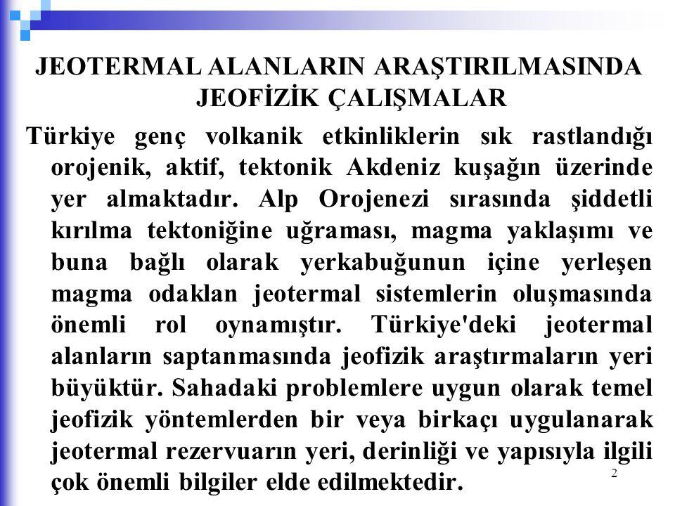 2 JEOTERMAL ALANLARIN ARAŞTIRILMASINDA JEOFİZİK ÇALIŞMALAR Türkiye genç volkanik etkinliklerin sık rastlandığı orojenik, aktif, tektonik Akdeniz kuşağ