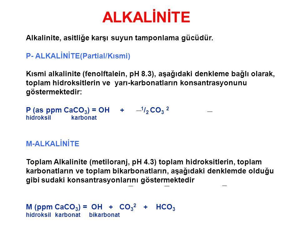 ALKALİNİTE Alkalinite, asitliğe karşı suyun tamponlama gücüdür. P- ALKALİNİTE(Partial/Kısmi) Kısmi alkalinite (fenolftalein, pH 8.3), aşağıdaki denkle