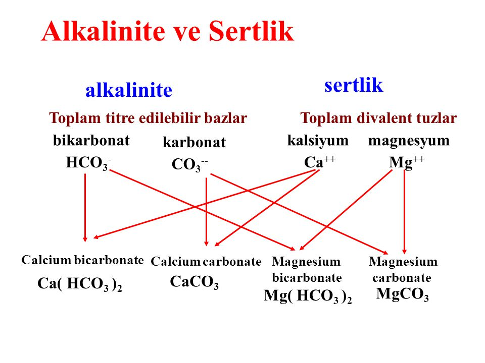 Alkalinite ve Sertlik alkalinite sertlik Toplam titre edilebilir bazlarToplam divalent tuzlar HCO 3 - bikarbonat CO 3 -- karbonat kalsiyummagnesyum Mg