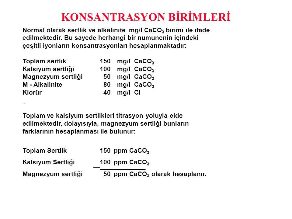 KONSANTRASYON BİRİMLERİ Normal olarak sertlik ve alkalinite mg/l CaCO 3 birimi ile ifade edilmektedir. Bu sayede herhangi bir numunenin içindeki çeşit