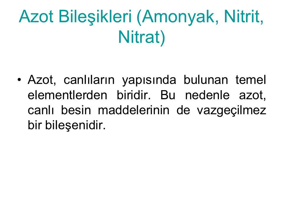 Azot Bileşikleri (Amonyak, Nitrit, Nitrat) Azot, canlıların yapısında bulunan temel elementlerden biridir. Bu nedenle azot, canlı besin maddelerinin d