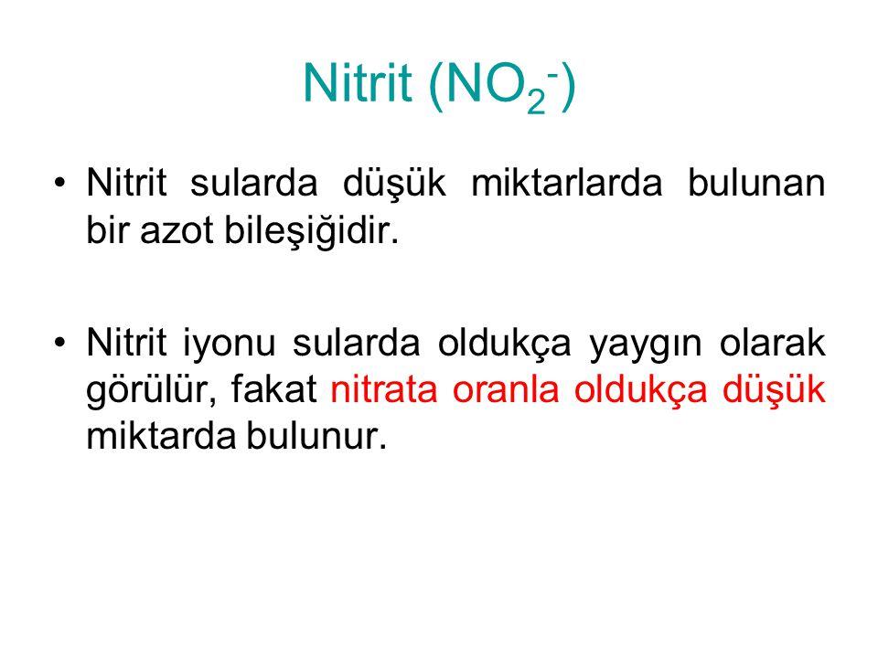 Nitrit (NO 2 - ) Nitrit sularda düşük miktarlarda bulunan bir azot bileşiğidir. Nitrit iyonu sularda oldukça yaygın olarak görülür, fakat nitrata oran