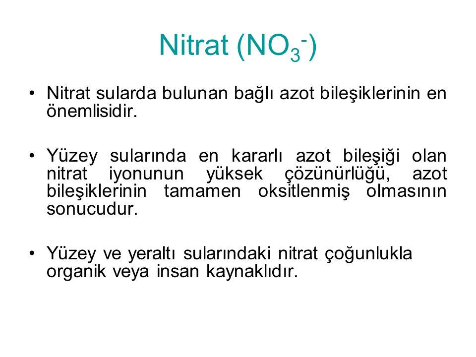 Nitrat (NO 3 - ) Nitrat sularda bulunan bağlı azot bileşiklerinin en önemlisidir. Yüzey sularında en kararlı azot bileşiği olan nitrat iyonunun yüksek