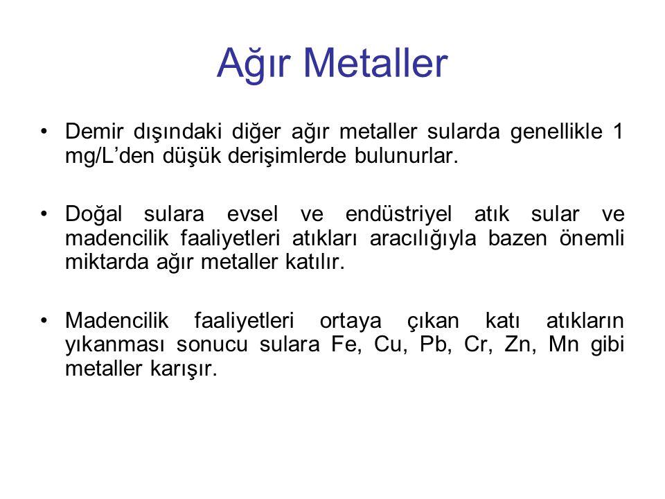 Ağır Metaller Demir dışındaki diğer ağır metaller sularda genellikle 1 mg/L'den düşük derişimlerde bulunurlar. Doğal sulara evsel ve endüstriyel atık