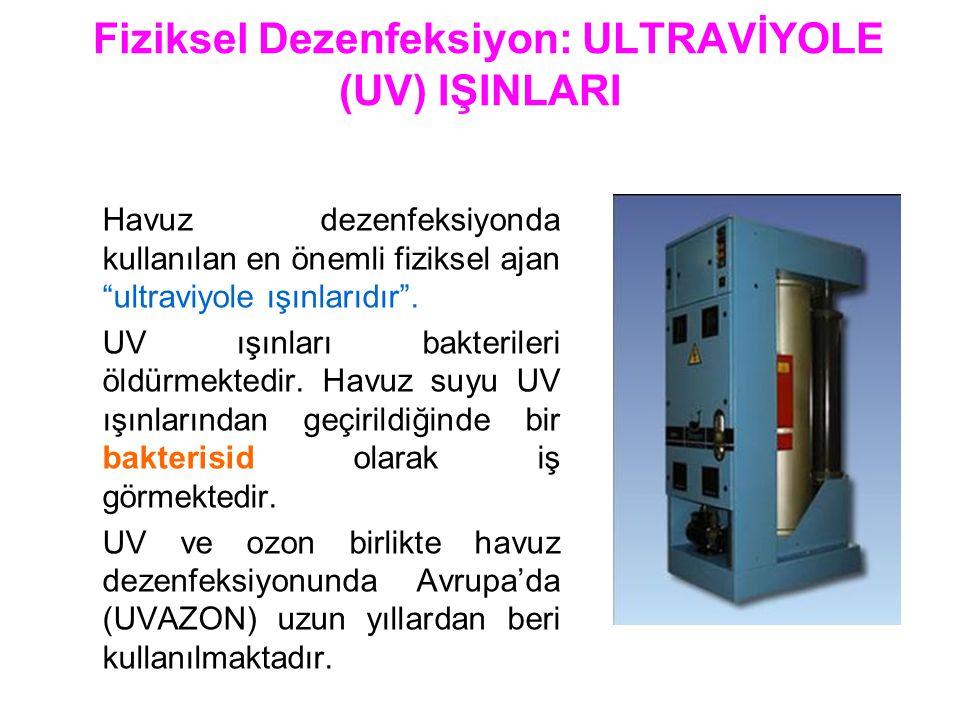 """Fiziksel Dezenfeksiyon: ULTRAVİYOLE (UV) IŞINLARI Havuz dezenfeksiyonda kullanılan en önemli fiziksel ajan """"ultraviyole ışınlarıdır"""". UV ışınları bakt"""