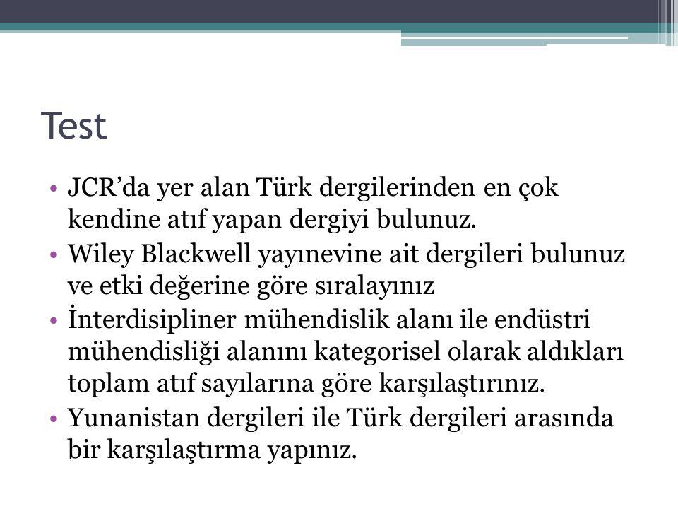 Test JCR'da yer alan Türk dergilerinden en çok kendine atıf yapan dergiyi bulunuz. Wiley Blackwell yayınevine ait dergileri bulunuz ve etki değerine g