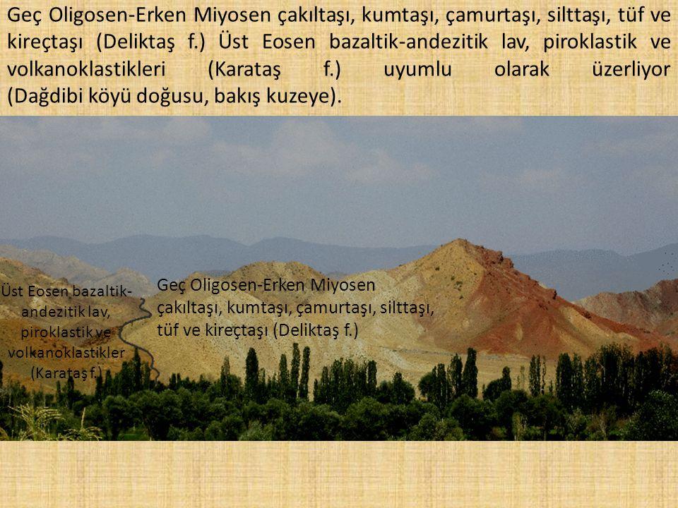 Geç Oligosen-Erken Miyosen çakıltaşı, kumtaşı, çamurtaşı, silttaşı, tüf ve kireçtaşı (Deliktaş f.) Üst Eosen bazaltik-andezitik lav, piroklastik ve vo