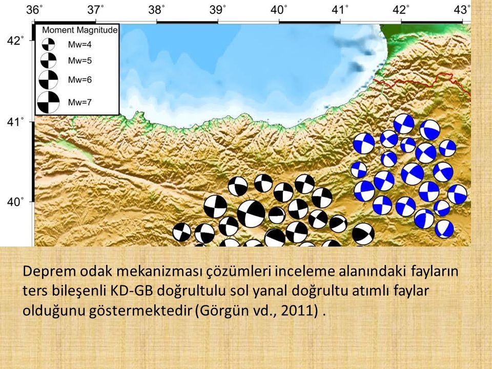 Deprem odak mekanizması çözümleri inceleme alanındaki fayların ters bileşenli KD-GB doğrultulu sol yanal doğrultu atımlı faylar olduğunu göstermektedi
