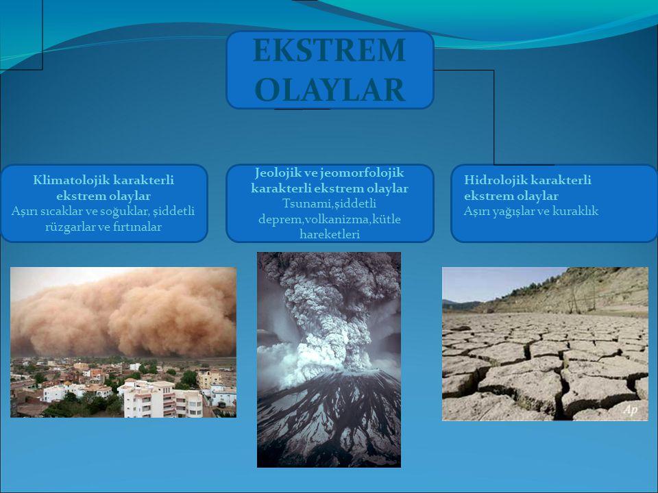 EKSTREM OLAYLAR Jeolojik ve jeomorfolojik karakterli ekstrem olaylar Tsunami,şiddetli deprem,volkanizma,kütle hareketleri Klimatolojik karakterli ekstrem olaylar Aşırı sıcaklar ve soğuklar, şiddetli rüzgarlar ve fırtınalar Hidrolojik karakterli ekstrem olaylar Aşırı yağışlar ve kuraklık