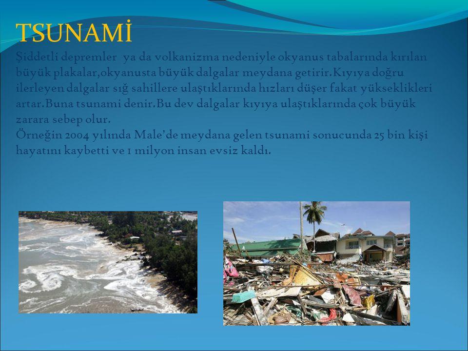 TSUNAMİ Ş iddetli depremler ya da volkanizma nedeniyle okyanus tabalarında kırılan büyük plakalar,okyanusta büyük dalgalar meydana getirir.Kıyıya do ğ ru ilerleyen dalgalar sı ğ sahillere ula ş tıklarında hızları dü ş er fakat yükseklikleri artar.Buna tsunami denir.Bu dev dalgalar kıyıya ula ş tıklarında çok büyük zarara sebep olur.