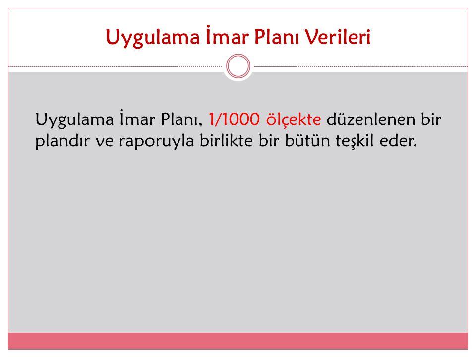Uygulama İmar Planı Verileri Uygulama İmar Planı, 1/1000 ölçekte düzenlenen bir plandır ve raporuyla birlikte bir bütün teşkil eder.