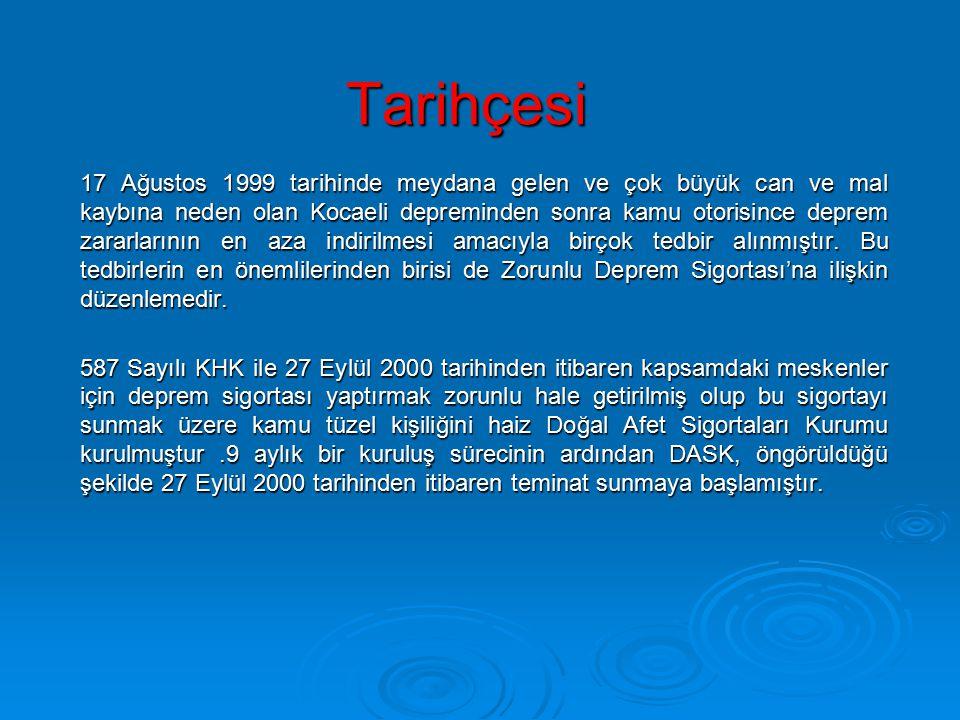 Tarihçesi 17 Ağustos 1999 tarihinde meydana gelen ve çok büyük can ve mal kaybına neden olan Kocaeli depreminden sonra kamu otorisince deprem zararlar