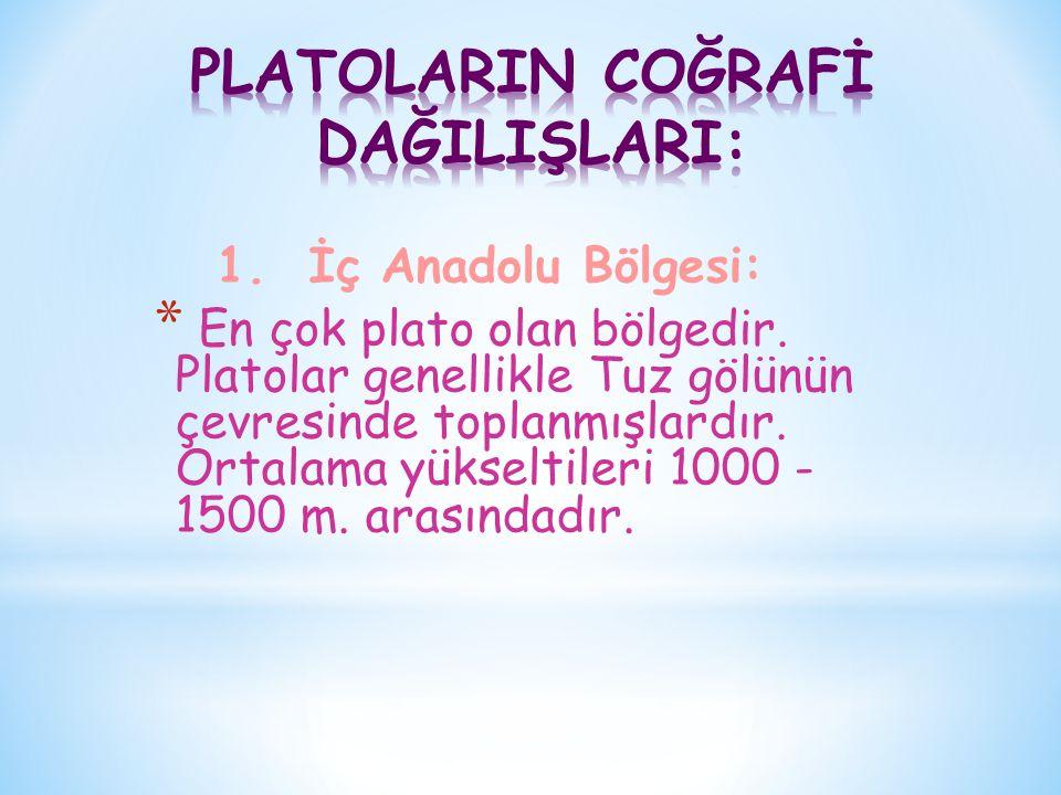 1. İç Anadolu Bölgesi: * En çok plato olan bölgedir. Platolar genellikle Tuz gölünün çevresinde toplanmışlardır. Ortalama yükseltileri 1000 - 1500 m.