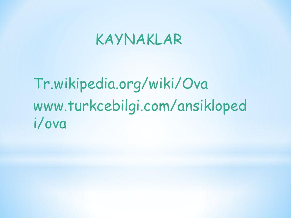 KAYNAKLAR Tr.wikipedia.org/wiki/Ova www.turkcebilgi.com/ansikloped i/ova