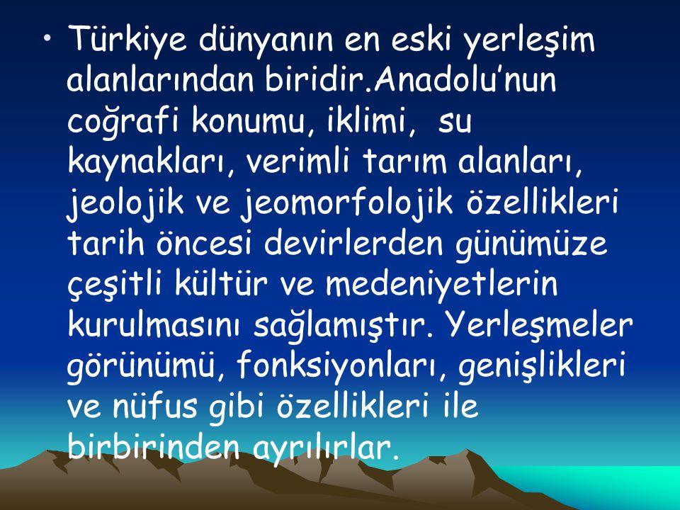 Türkiye dünyanın en eski yerleşim alanlarından biridir.Anadolu'nun coğrafi konumu, iklimi, su kaynakları, verimli tarım alanları, jeolojik ve jeomorfolojik özellikleri tarih öncesi devirlerden günümüze çeşitli kültür ve medeniyetlerin kurulmasını sağlamıştır.